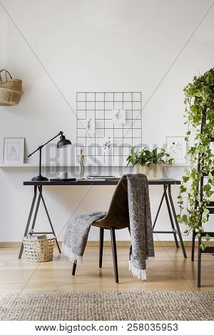 Blanket Thrown On Chair Standing By The Desk For Remote Work In Real Photo Of White Living Room Inte