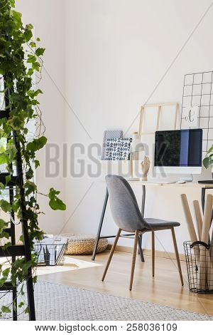 Real Photo Of White Living Room Interior With Study Corner Desk With Empty Screen Monitor, Metal Lam