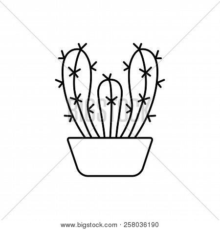 Vector illustration of cereus cactus in the pot. Desert succulent plant for terrarium and rock garden. Line icon. Isolated object on white background. poster