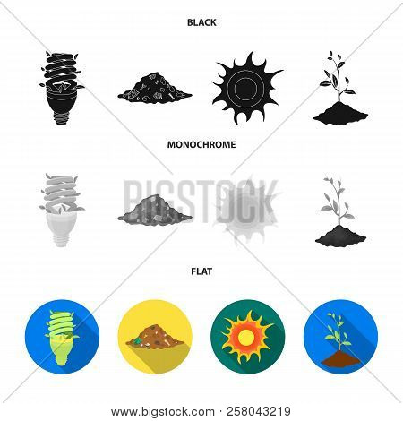 An Ecological Lamp, The Sun, A Garbage Dump, A Sprout From The Earth.bio And Ecology Set Collection