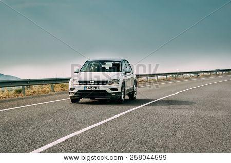 Tor, Girona, Spain - May 17, 2018: 2018 Volkswagen Tiguan Se Nav Tsi 1.4 Car Of White Color In Motor