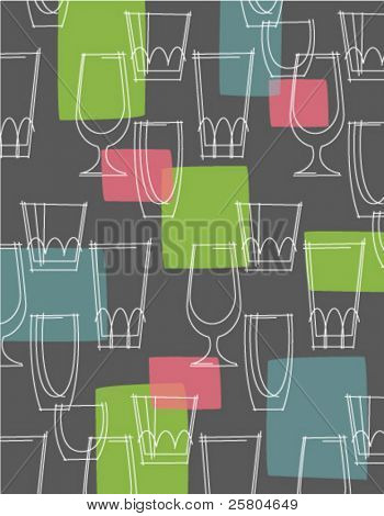 retro cocktail glasses pattern