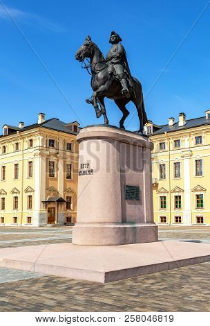 Strelna, Saint Petersburg, Russia - August 9, 2017: Monument To Peter The Great Next To The Konstant