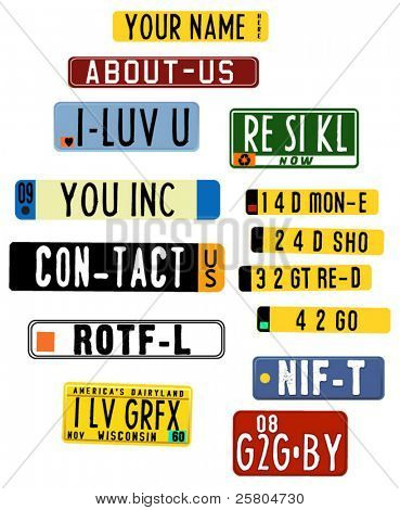 vector license plate graphics with acronyms