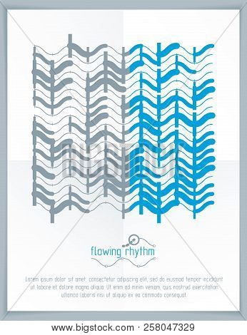 Abstract Wavy Lines Vector Illustration. Graphic Template, Advertising Poster. Technological Pattern
