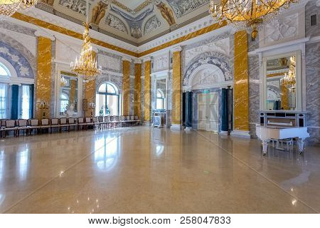 Saint Petersburg, Russia - August 9, 2017: Konstantinovsky (congress) Palace In Strelna. Interior On