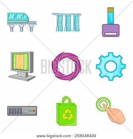 Cordless Portable Icons Set. Cartoon Set Of 9 Cordless Portable Icons For Web Isolated On White Back