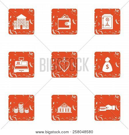 Rich City Icons Set. Grunge Set Of 9 Rich City Icons For Web Isolated On White Background