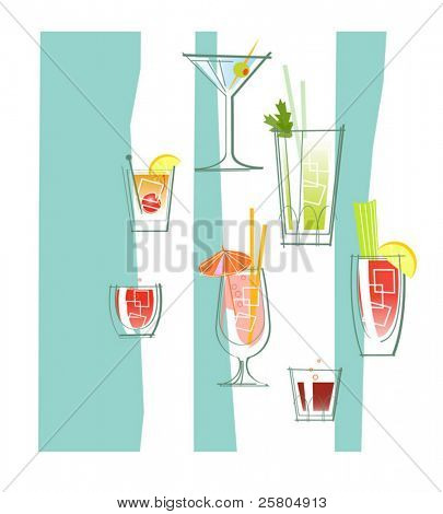 various cocktails and drinks