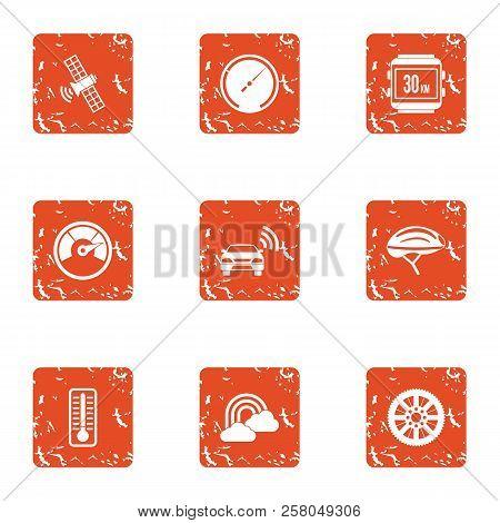 Cosmic Wireless Icons Set. Grunge Set Of 9 Cosmic Wireless Icons For Web Isolated On White Backgroun