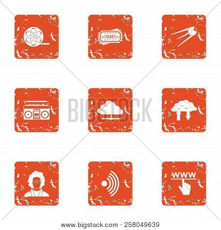 Wirelessly Icons Set. Grunge Set Of 9 Wirelessly Icons For Web Isolated On White Background