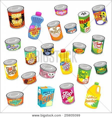big set of canned goods and supplies