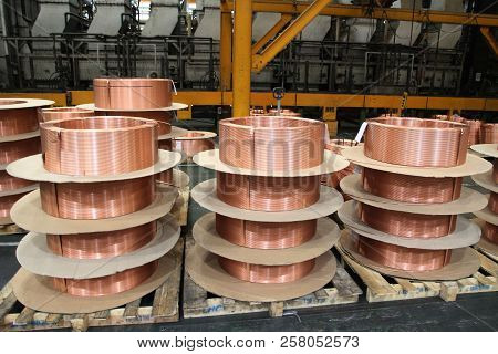 Rolls Of Copper Tube Are Placed In Storage Stack Yard Waiting To Be Sent Out To Customers.