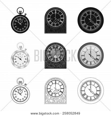 Vector Illustration Of Clock And Time Logo. Collection Of Clock And Circle Stock Vector Illustration