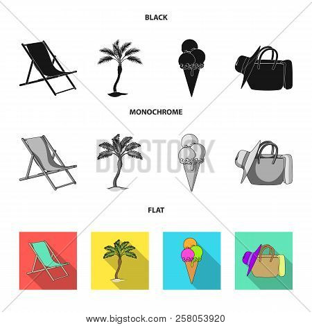 Beach, Palm Tree, Ice Cream.summer Vacation Set Collection Icons In Black, Flat, Monochrome Style Ve