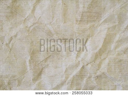 Old Crumpled Grunge Recycled Newspaper Paper Texture Background. Blurred Vintage Newspaper Horizonta