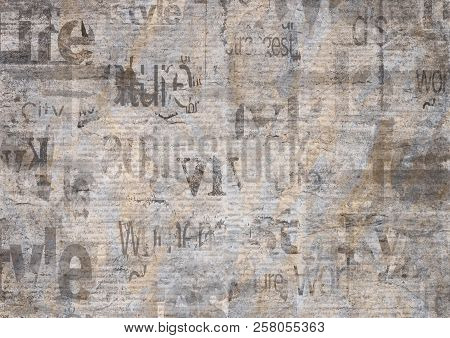 Old Grunge Newspaper Paper Textured Horizontal Background. Vintage Newspaper Texture. Newsprint Type