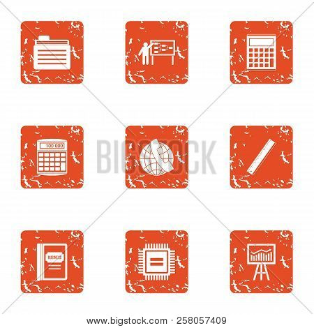 Boost The Economy Icons Set. Grunge Set Of 9 Boost The Economy Icons For Web Isolated On White Backg