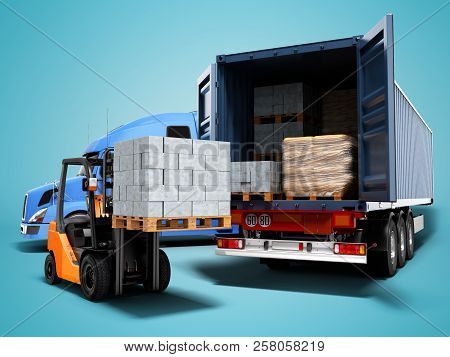 Modern Concept Of Loading And Unloading Cargo From Blue Tractor With Truck With Building Materials A