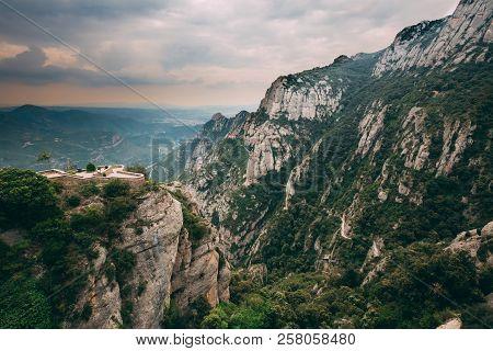 Catalonia, Spain. Viewpoint In Montserrat Mountains. Rocky Range Located Near City Of Barcelona, Spa
