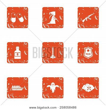 Serious Crime Icons Set. Grunge Set Of 9 Serious Crime Icons For Web Isolated On White Background
