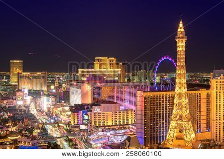 Las Vegas Skyline At Night On July 25, 2018 In Las Vegas, Usa. The Strip Is Home To The Largest Hote