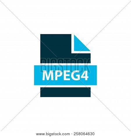 Mpeg4 File Icon Colored Symbol. Premium Quality Isolated Mp4 Element In Trendy Style.