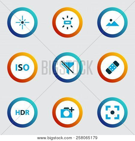 Image Icons Colored Set With Healing, Landscape, Wb Sunny No Filter Elements. Isolated  Illustration