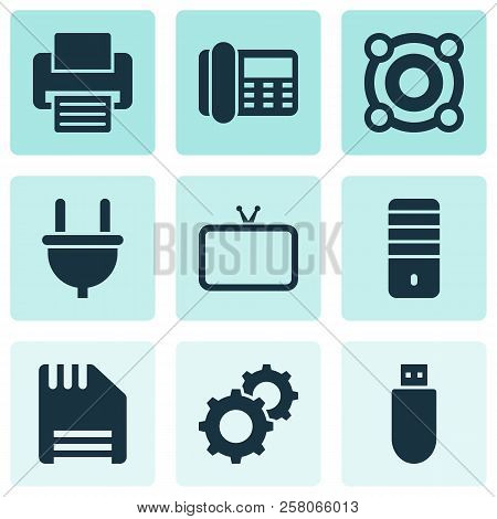 Gadget Icons Set With Loudspeaker, Cable, Flash Drive And Other Gear Elements. Isolated Vector Illus