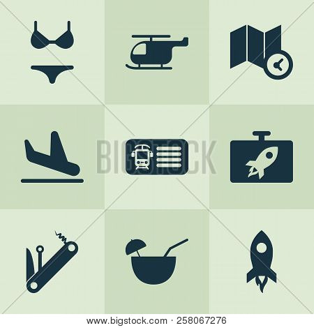 Journey Icons Set With Multitool, Plane Landing, Coconut Cocktail Chopper Elements. Isolated Vector