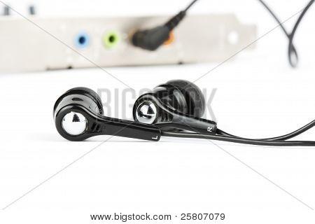 Black Headphones With Audio Card