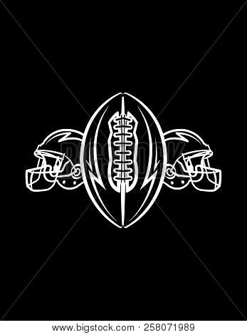 A Black And White American Football Ball And Helmets Icon Illustration Background. Vector Eps 10 Ava