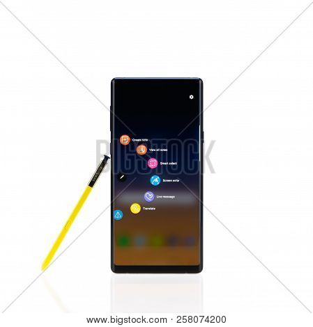 Bangkok, Thailand - Sep 10, 2018: Samsung Galaxy Note 9 Smartphone With Yellow S-pen Stylus, Isolate