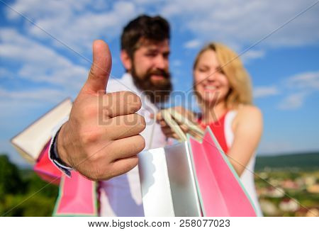 Highly Recommend Sale Tips. Man With Beard Shows Thumb Up Gesture. Advice Shop Now. Couple In Love R