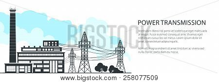 Banner Of Electric Power Transmission, Power Station And High Voltage Power Lines Supplies Electrici