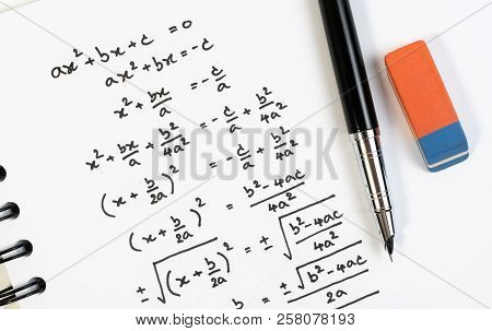 Handwriting Of Mathematics Quadratic Equation Formula On Examination, Practice, Quiz Or Test In Math