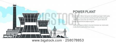 Silhouette Nuclear Plant Banner , Thermal Power Station, Nuclear Reactors And High Voltage Power Lin