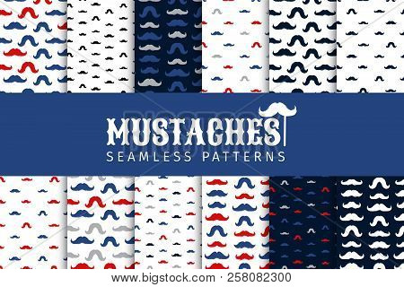 Moustaches Seamless Patterns Collection. November Holiday Wrapping. Mustache Silhouettes For Fabric