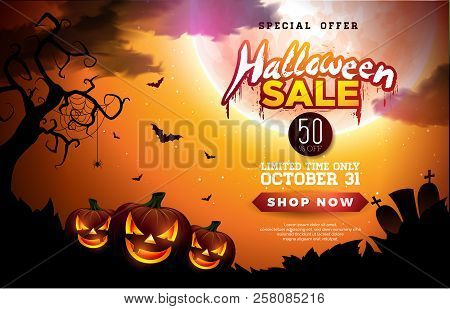 Halloween Sale Banner Illustration With Pumpkins, Moon And Flying Bats On Orange Night Sky Backgroun