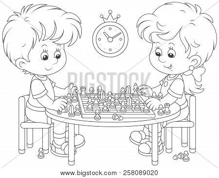 Small Children Playing Chess, Black And White Vector Illustration In A Cartoon Style