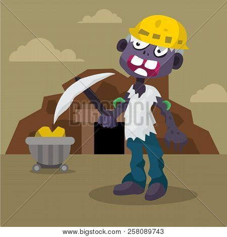 Cartoon Miner Worker Zombie With Mine Cart, Coal,  Character Vector