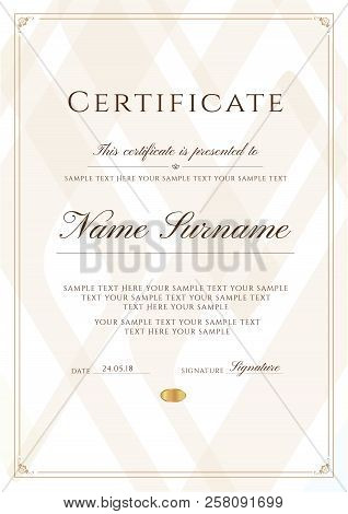 Certificate Template With Frame Border And Pattern. Design For Diploma, Certificate Of Achievement,