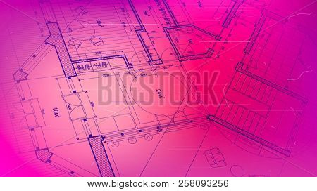Architectural plan - abstract architectural blueprint of a modern residential building