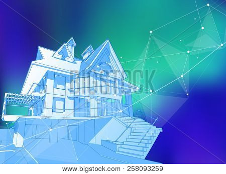 modern house on a blue background surrounded by digital networks - an illustration of a smart eco-friendly home - the concept of modern information technology smart house or smart city