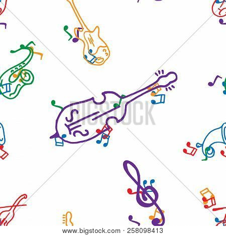 Musical Notes And Musical Instruments Seamless Pattern. Vector Illustration Of Musical Instruments S