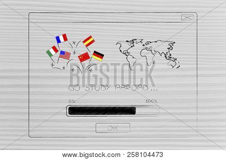 Studying Foreign Languages Conceptual Illustration: Country Flags Next To World Map Inside Go Study