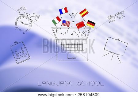 Studying Foreign Languages Conceptual Illustration: Country Flags Popping Out Of Laptop Surrouunded