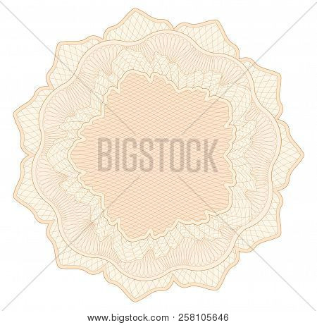 Guilloche pattern, watermark, rosette (line elements) for money design, voucher, currency, gift certificate, coupon, banknote, diploma, check, note poster
