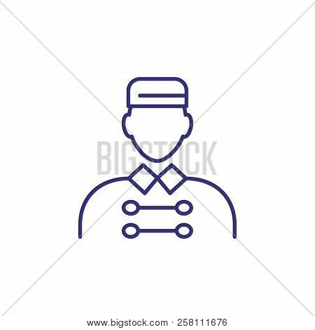 Porter Line Icon. Doorkeeper, Uniform, Bellboy. Hospitality Concept. Vector Illustration Can Be Used