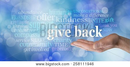 Give Back Word Tag Cloud - Male Hand With The Words Give Back Floating Above Surrounded By A Word Cl